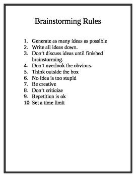 STEM Engineering - Brainstorming Rules Poster
