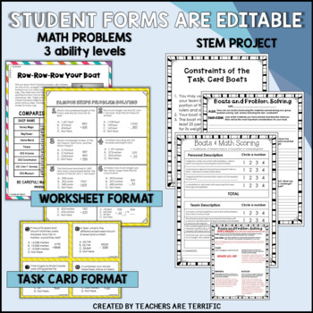 STEM Challenge Boats and Math Task Cards