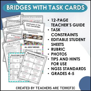 STEM Activity Challenge Bridges and Math Task Cards