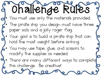 STEM Engineering Challenge Pack ~ ARGH! Pirate Challenges ~ Set of Five!