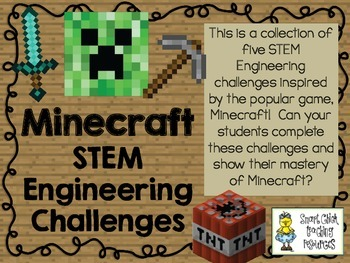 Minecraft STEM ~ STEM Engineering Challenge Pack ~ Set of Five!