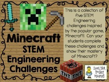 Minecraft STEM ~ STEM Engineering Challenge Pack ~ Set of Five!