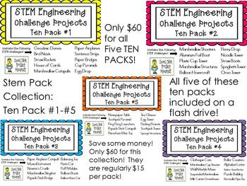 STEM Engineering Challenge Projects ~ First FIVE TEN PACKS on Flash Drive!