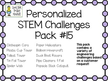 STEM Engineering Challenge Projects ~ PERSONALIZED Ten Pack #15