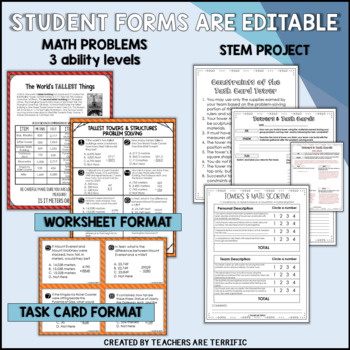STEM Activity Challenge Towers and Math Task Cards