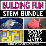STEM Building Cars, Mazes, and Boats Challenge Bundle