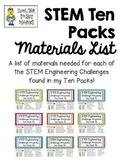 STEM Engineering Challenges Ten Packs ~ Full Materials List ~ FREE!