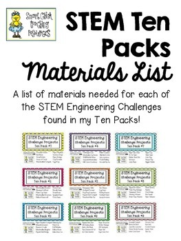 STEM Engineering Challenges Ten Packs ~ Full Materials List ~ FREE!