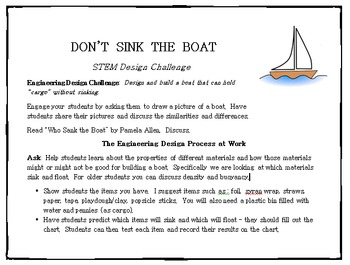 STEM Engineering Design Challenge - Don't Sink the Boat