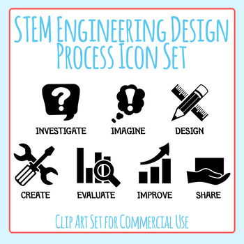 STEM Engineering Design Process Black Icons Clip Art Set for Commercial Use