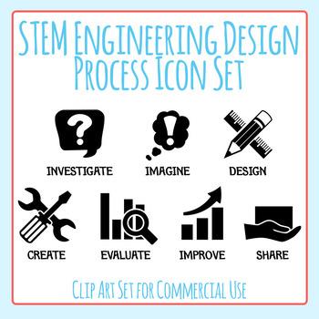 STEM Engineering Design Process Black Icons Clip Art Set f