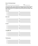STEM Engineering - History Of Technology Research Worksheet