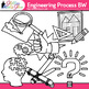 STEM Engineering Process Clip Art | STEAM Science Graphics for Worksheets | B&W