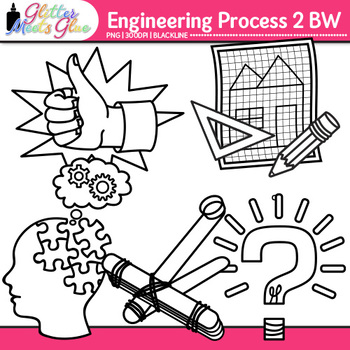 STEM Engineering Process Clip Art {STEAM Science Graphics for Worksheets} B&W
