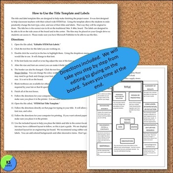 STEM Fair Project Board Title and Label Template: Editable
