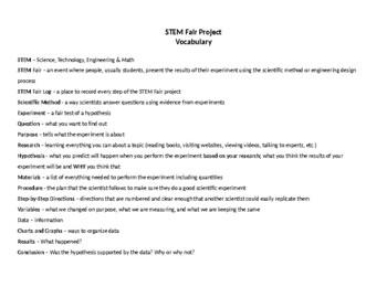 STEM Fair Vocabulary List & Posters; Scientific Method