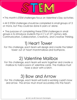 STEM - February Valentine's Themed Challenges