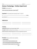 STEM: Friction Experiment Sheet using Legos