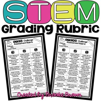 stem grading rubric  brooke brown teach   box tpt