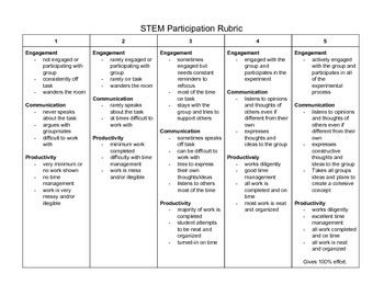 STEM Group Activity Rubric