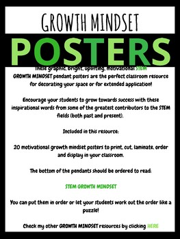 STEM Growth Mindset Posters (Science, Tech, Engineering, Math) Pendant Banners