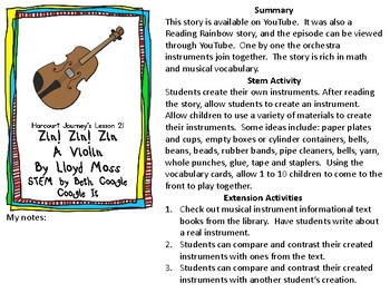 STEM Harcourt Journey Lesson 21 Zin! Zin! Zin! A Violin