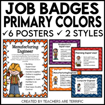 STEM and Science Job Badges and Posters in Primary Colors