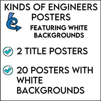 STEM Kinds of Engineers Posters featuring White Backgrounds