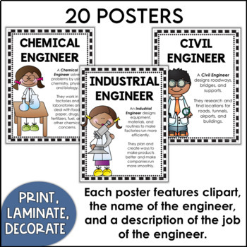 Kinds of Engineers Posters featuring White Backgrounds