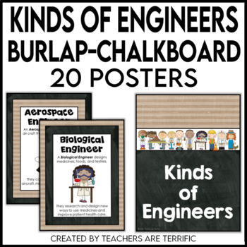 STEM Kinds of Engineers Posters in Burlap and Chalkboard