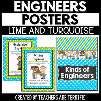 STEM Kinds of Engineers Posters in Lime and Turquoise