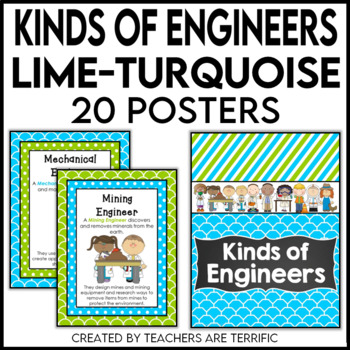Kinds of Engineers Posters in Lime and Turquoise