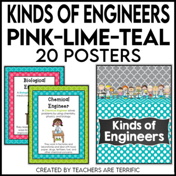 Kinds of Engineers Posters in Pink, Lime, and Teal