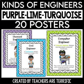 Kinds of Engineers Posters in Purple, Lime, and Turquoise