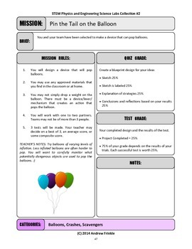 STEM Lab Science Experiment - balloon poppers