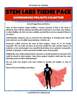 STEM Labs Theme Pack - Super Hero Comic Book Projects Pack 11 STEM Projects