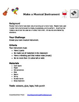 STEM Make a Musical Instrument Design Plan