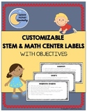 STEM & Math Center Labels With Objectives (Customizable)