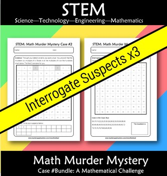 STEM Math Murder Mystery 2 Digit Bundle: 3x Math Challenges Bundle