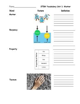 STEM Matter Vocabulary