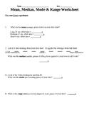 STEM: Mean, Median, Mode, Range Worksheet for Simple Machine Levers Experiment