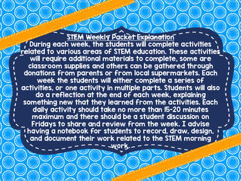 STEM Morning Work Weekly Packet