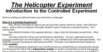 STEM/NGSS Controlled Experiment Mini-Lab--The Helicopter Experiment