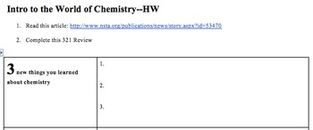 STEM/NGSS Intro To Chemistry: The Dihydrogen Monoxide Assignment HOMEWORK