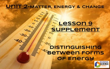 STEM/NGSS Lesson 9 Supplement Distinguish between Forms of Energy