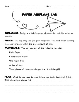 STEM: Paper Airplane Lab