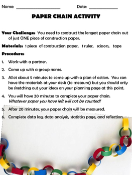 BACK TO SCHOOL STEM ACTIVITY:  Paper Chain Math Challenge