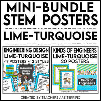 STEM Poster Mini Bundle in Lime and Turquoise