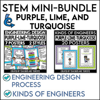 STEM Poster Mini Bundle in Purple, Lime, and Bright Turquoise