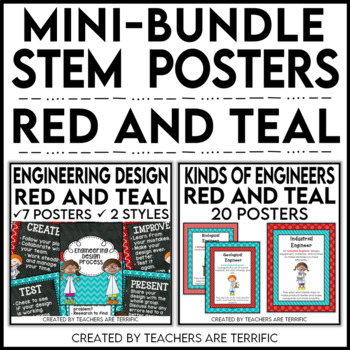 STEM Poster Mini Bundle in Red and Teal